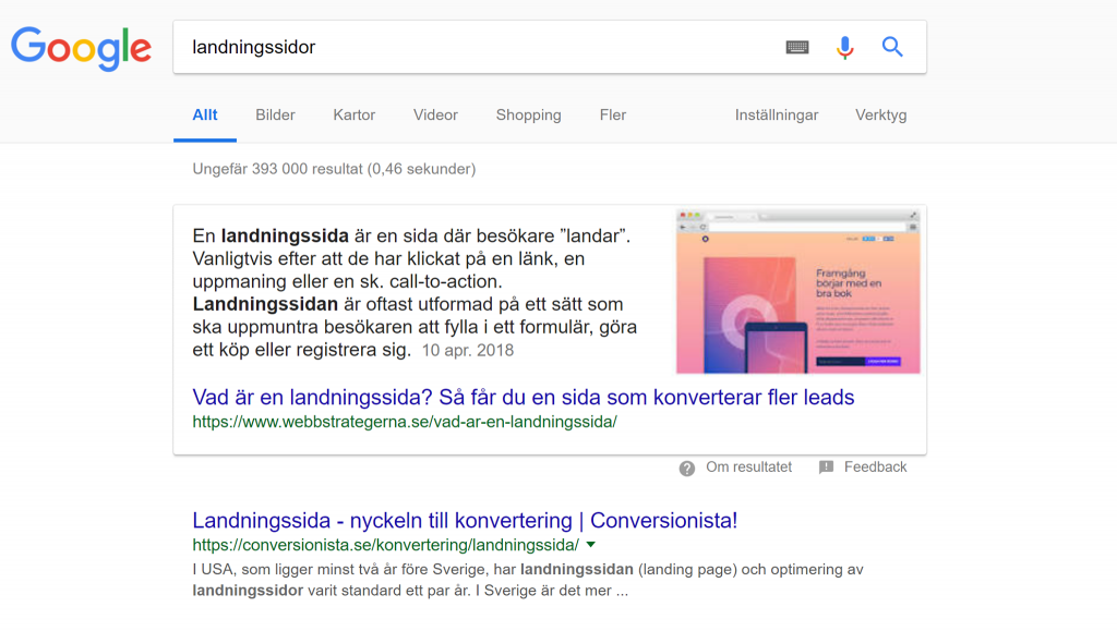 Content Marketing - Landningssidor - Feature Snippet