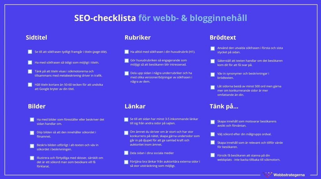 SEO-checklista för webb - och blogginnehåll