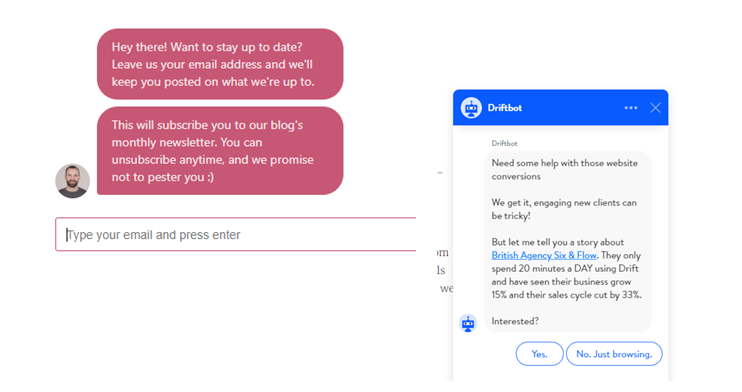 chatblot - drift - hubspot - exempel på cta call to action